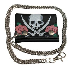 Pirate Skull Swords & Roses Leather Tri-Fold